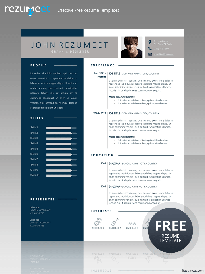 Diran Free Blue Banner Resume Template For Word Docx Resume Template Word Resume Template Microsoft Word Resume Template