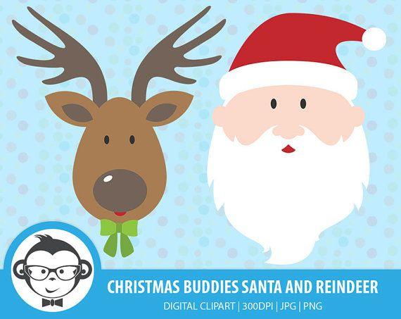 Christmas Buddies Santa and Reindeer by MonkeyGraphicDesign