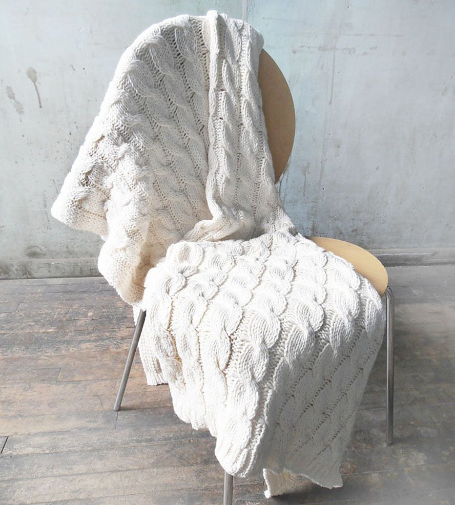 White Cable Knit Throw Blanket | Organic Cotton $85 | Gift Ideas ...