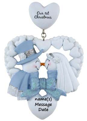First Christmas Ornament Snow Couple Ornament  Personalized