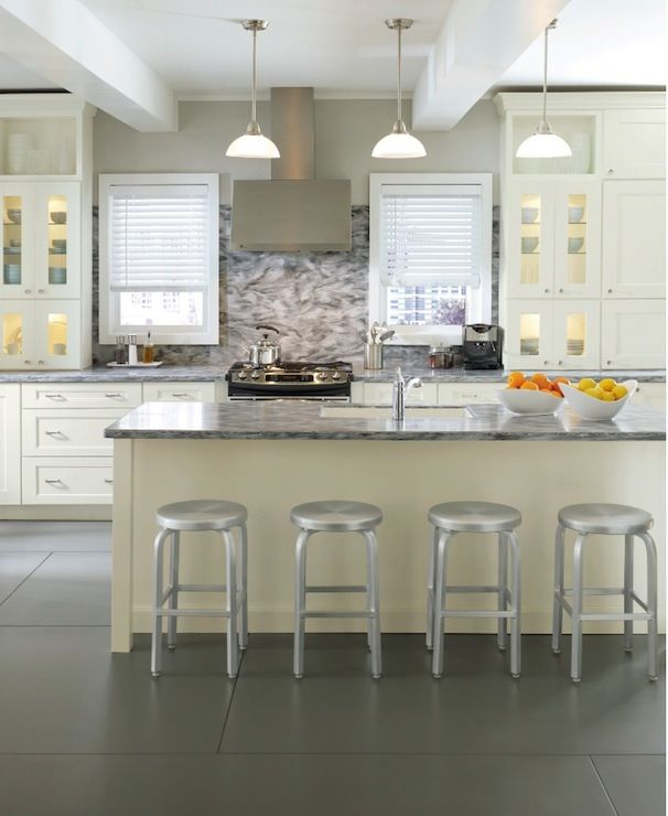 Messy Kitchen Counter: Kitchen Design With Long Linear Island And Stamped