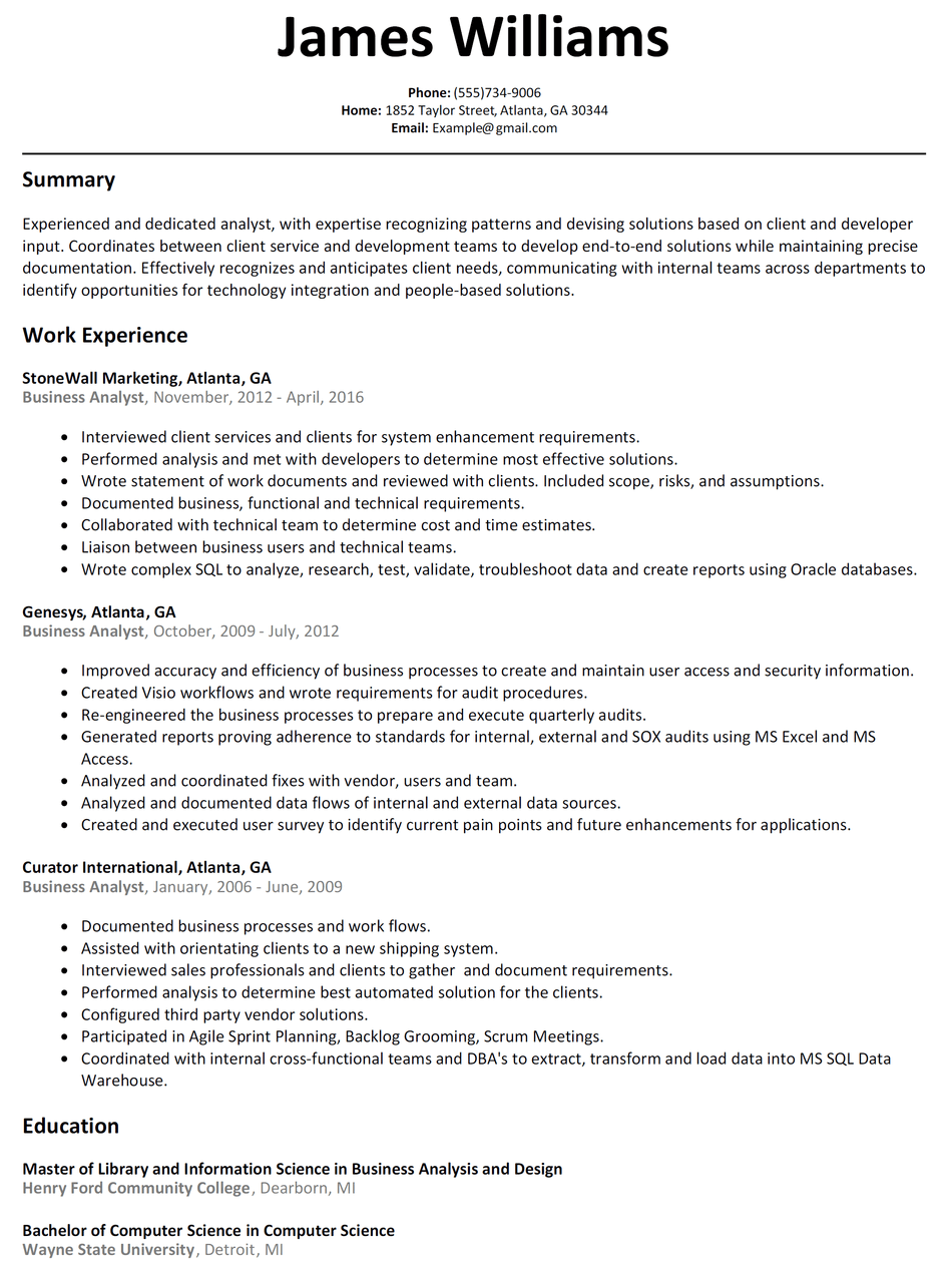 Resume Examples Business Analyst Resume examples