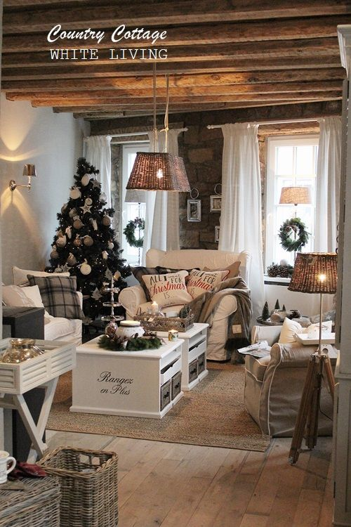 White Country Living Room Decorating Ideas: White Living: Country Cottage Great Interior Decoration