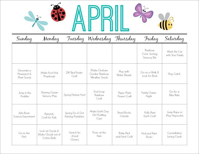 Calendar Monthly Activities : April printable activity calendar for kids activities