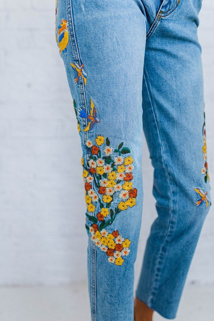 1eb0ac52dc Rebecca James | Embroidery | Girlfriend jeans, Flower jeans ...