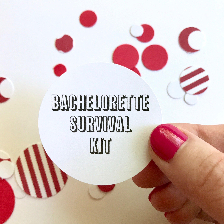 Bachelorette Survival Kit Sticker   Round Circle Sticker Hangover ...
