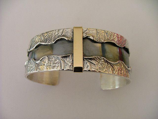 Cuff |  Donna Stiles.  Solid silver & 18K gold