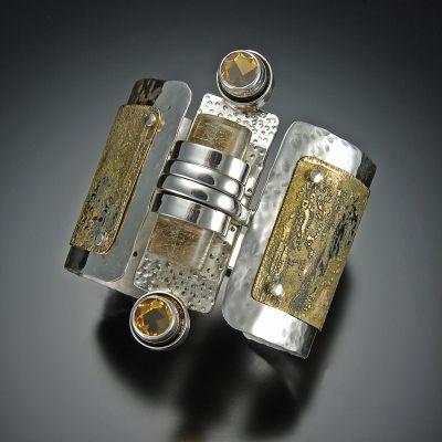 Jennifer Defoe: Hammered Sterling silver, Etched Brass, Citrine, Rutilated Quartz