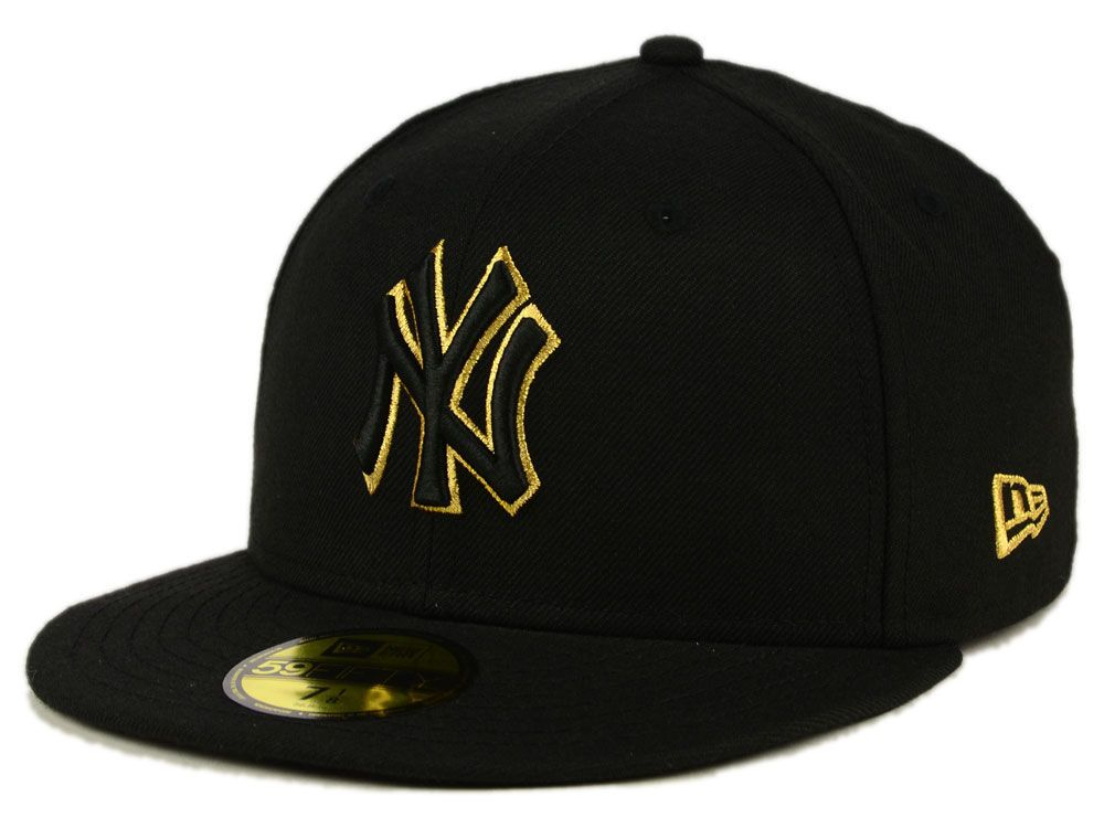 sale retailer 0a13d 576a9 New York Yankees New Era MLB Black On Metallic Gold 59FIFTY Cap