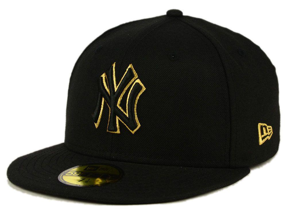 New York Yankees New Era Mlb Black On Metallic Gold 59fifty Cap Hats For Men Flat Bill Hats Yankee Hat