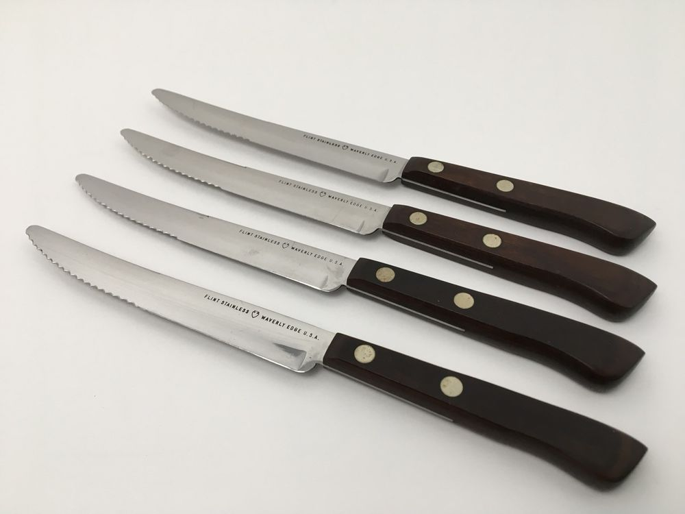 Vintage Ekco Flint Arrowhead Steak Knives Set Of 4 Waverly Edge USA