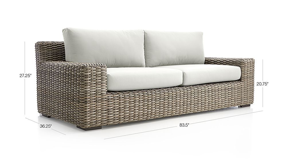 Image With Dimension For Cayman Outdoor Sofa With Sunbrella ® Cushions