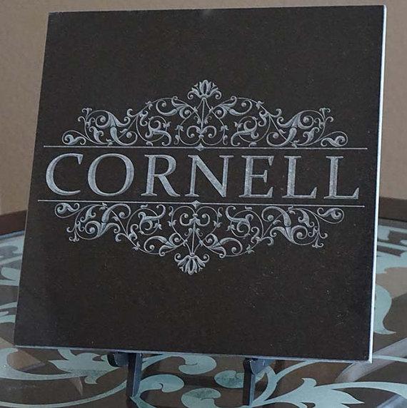 Engraved Monogram Family Name Est Date Engraved Black Etsy Engraved Monogram Granite Memorial Black Granite