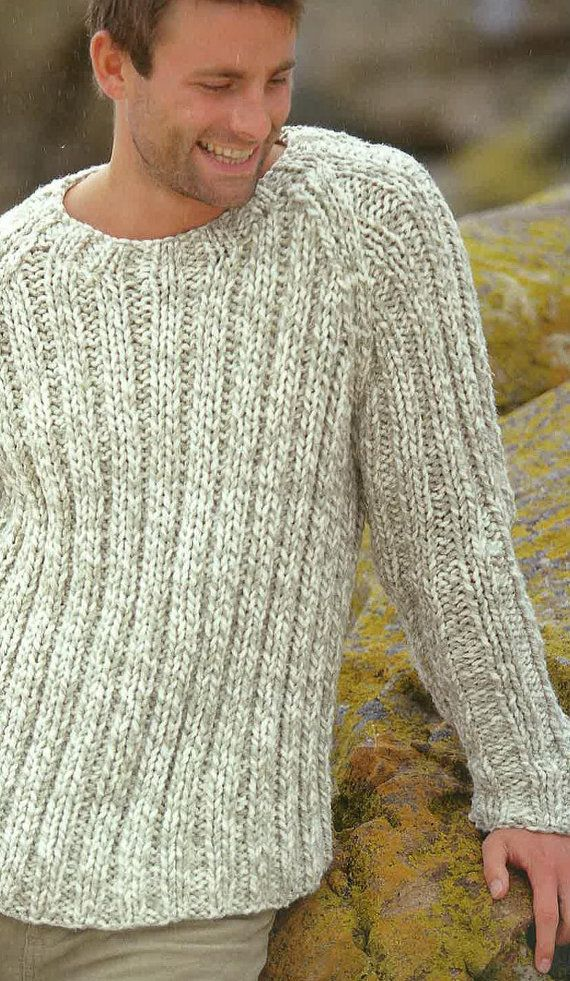 Knitting Pattern Mens Jumper, Sweater, Jersey 38ins - 48ins PDF ...