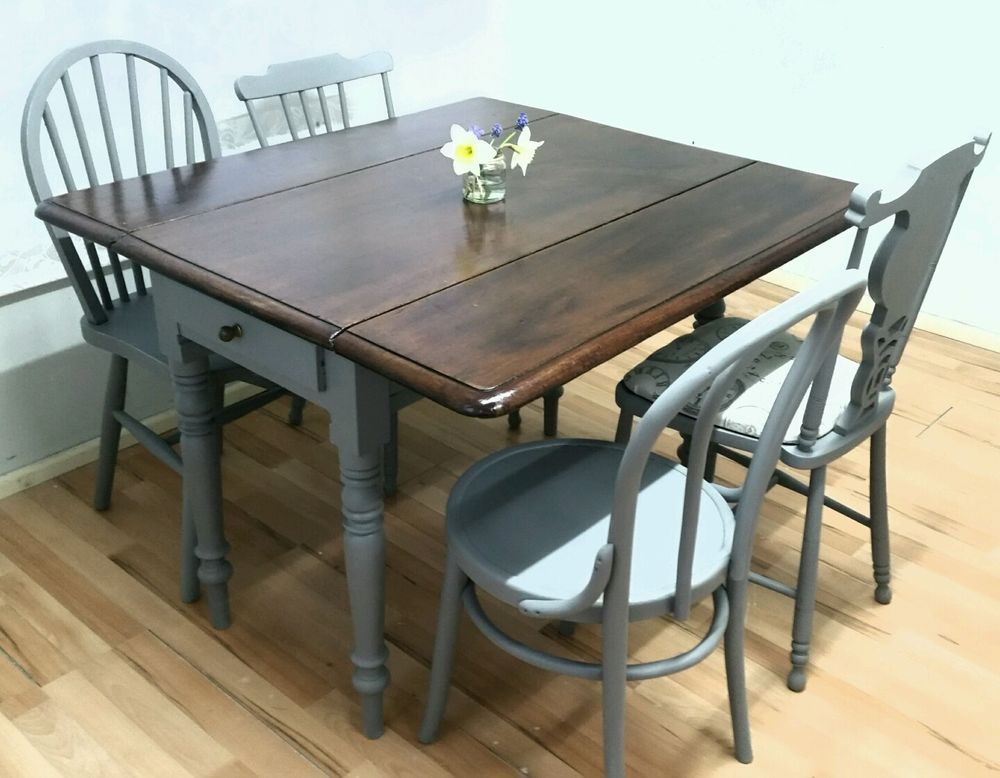 Vintage Drop Leaf Dining Table 4 Chairs Extending Victorian Rustic