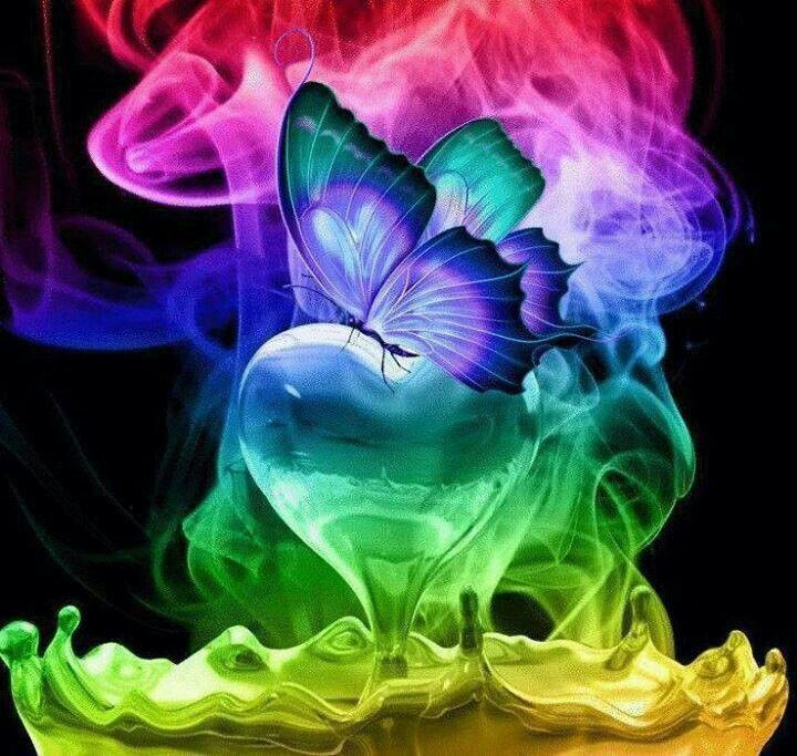 Rainbow Colors Colorful Butterfly Art Smoke Abstract Rainbow Neon