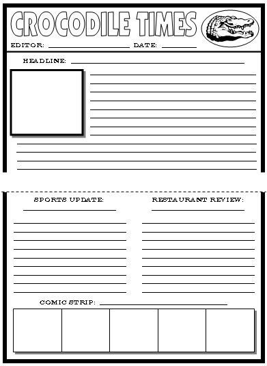 Newspaper Article Template For Kids Printable | Let's Entertain ...