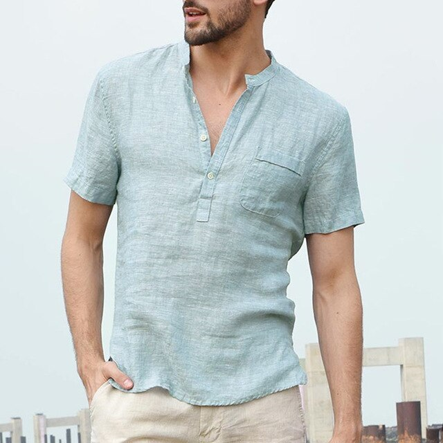 d22480b51 Incerun Fashion 2018 New Summer Mens Casual Shirts Short Sleeve V Neck  Basic Blouse Casual Loose Thin Tops Men Plus Size S-3xl
