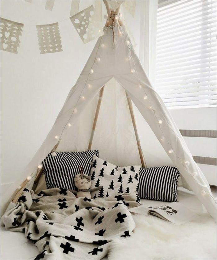 boho-kinderzimmer-gestaltung-weißes-tipi-zelt | tipizelt, Schlafzimmer design