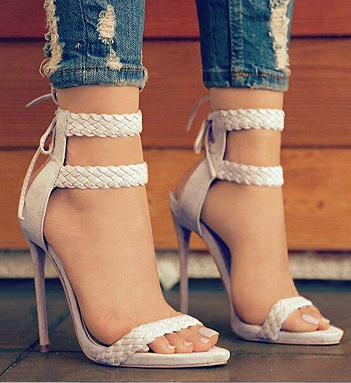 9b545ef04b0e0 Amazon.com   Dellytop Women's Ankle Strap Open Toe Weaving Stiletto ...