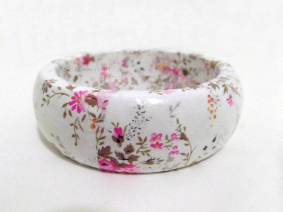 Decoupage Bangle Bracelet by TopFloorTreasures on Etsy, $12  #handmade #jewelry #jewellery #gifts #christmas #crafts #flowers #white #pink