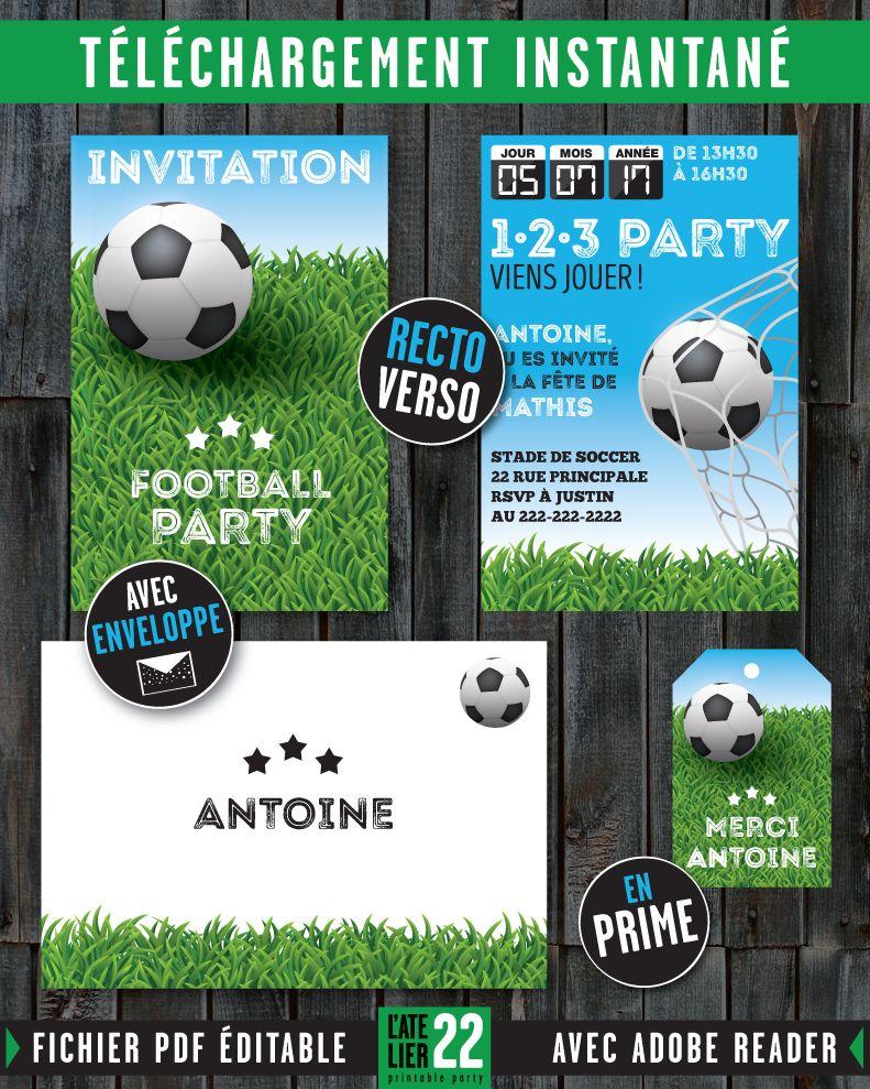Carte d\'invitation SOCCER / FOOTBALL. Enveloppe. Étiquette pour sac ...