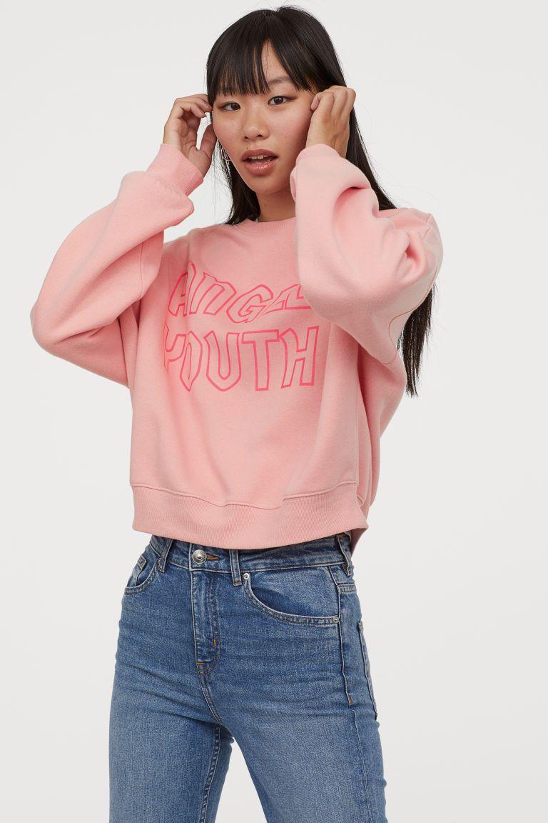 Motifli Sweatshirt Toz Pembe Angel Youth Kadin H M Tr Sweatshirts Sweatshirt Fabric Round Neck Sweatshirts
