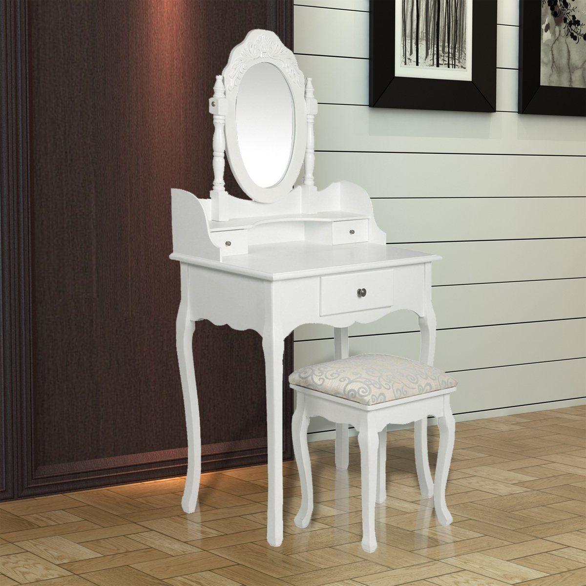 h bscher schminktisch frisiertisch schminkkommode in wei mit spiegel und hocker. Black Bedroom Furniture Sets. Home Design Ideas