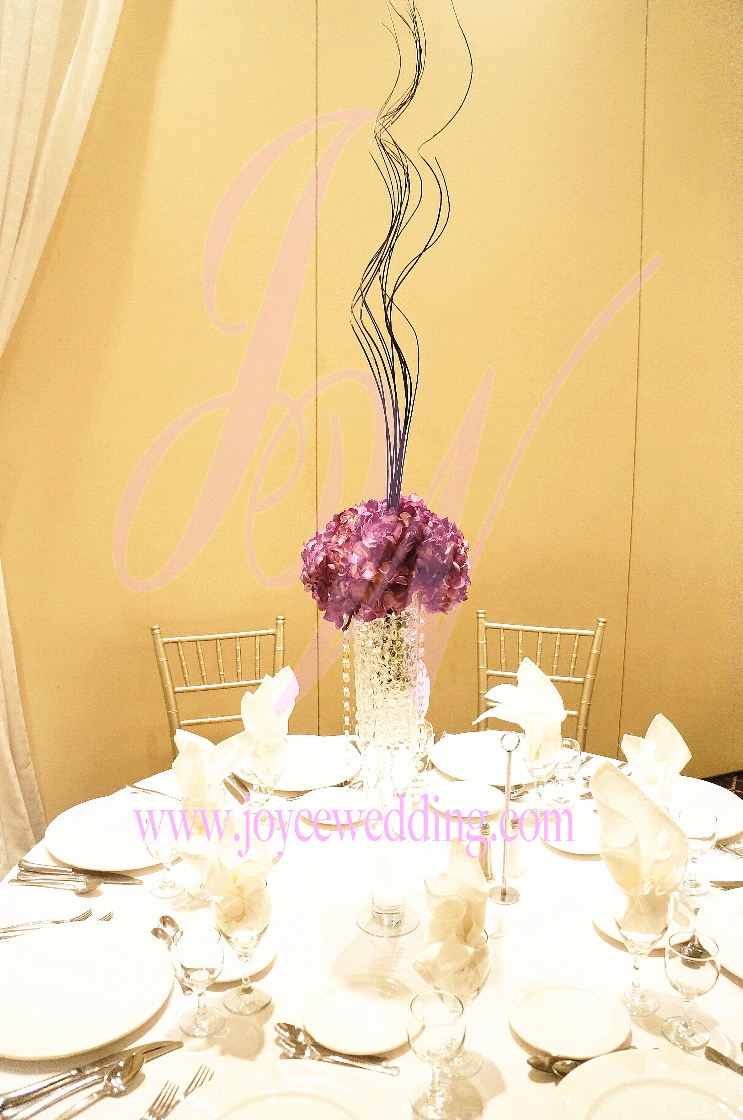 #Centerpiece Of #Purple #Hydrangeas And #Longbranch In #Crystal #Vase With