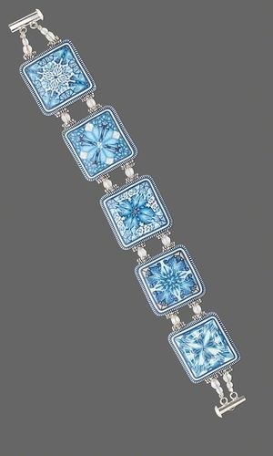 Double-Strand Bracelet with Blue and White Kato Polyclay™ Links and Czech Fire-Polished Glass Beads - Fire Mountain Gems and Beads