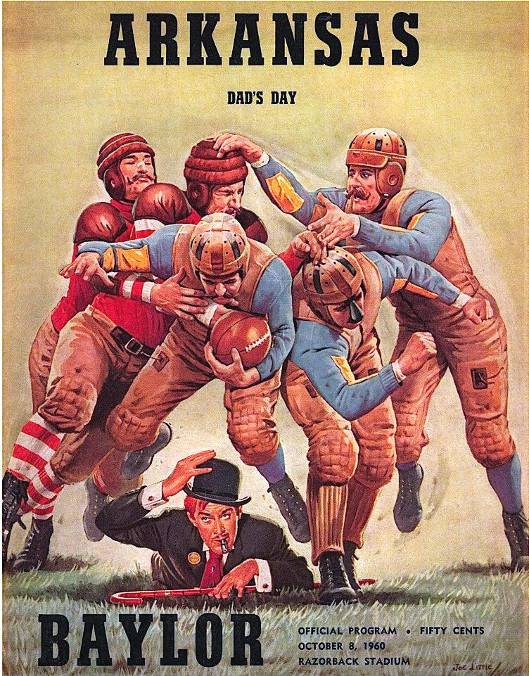 Arkansas vs Baylor 1960 Vintage Football Poster by Joe