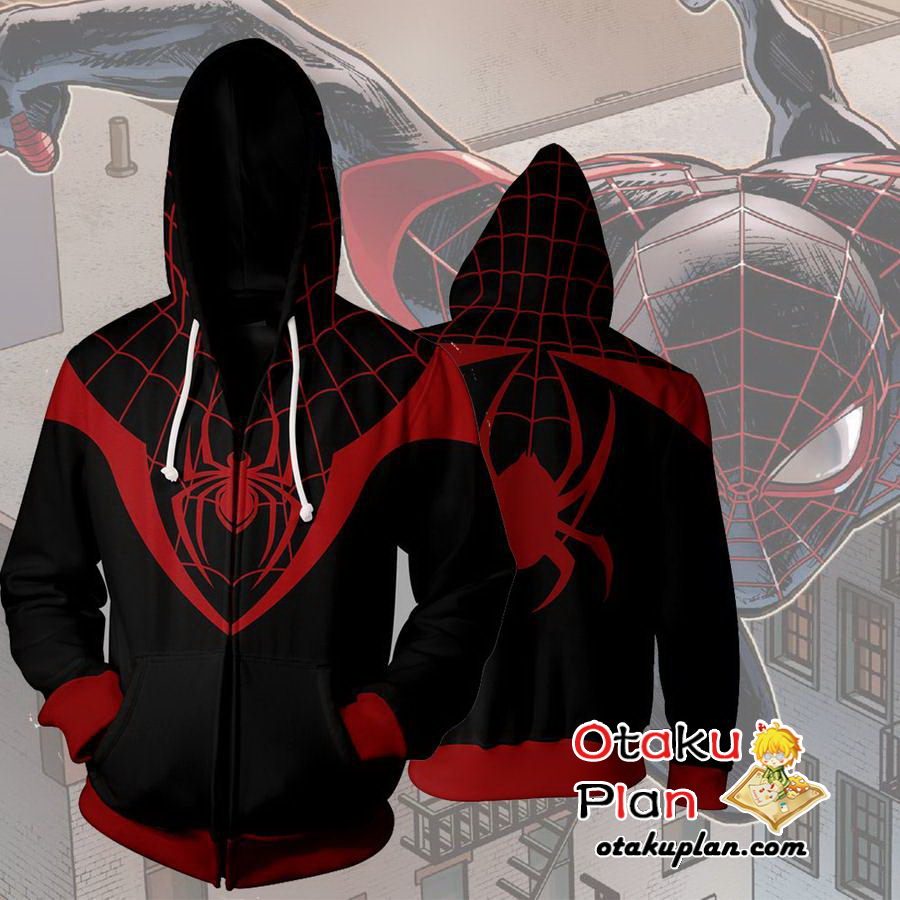 41242ef0d1f Spiderman Ultimate Spiderman Miles Morales Zip Up Hoodie Jacket - Spiderman  3D Zip Up Hoodies And Clothing  anime  animelover  comic  animeboy  stuff  ...