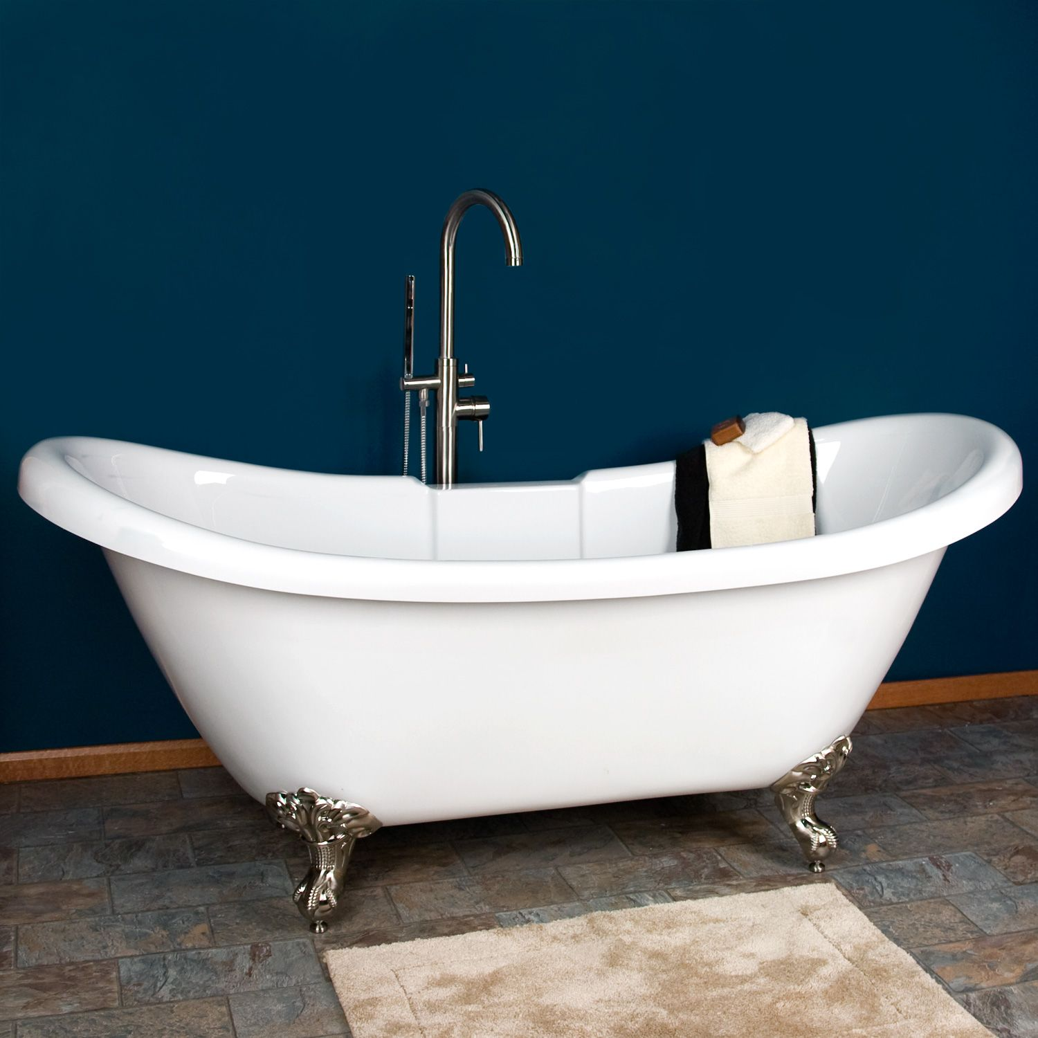 63 Quot Rosalind Acrylic Double Slipper Clawfoot Tub With