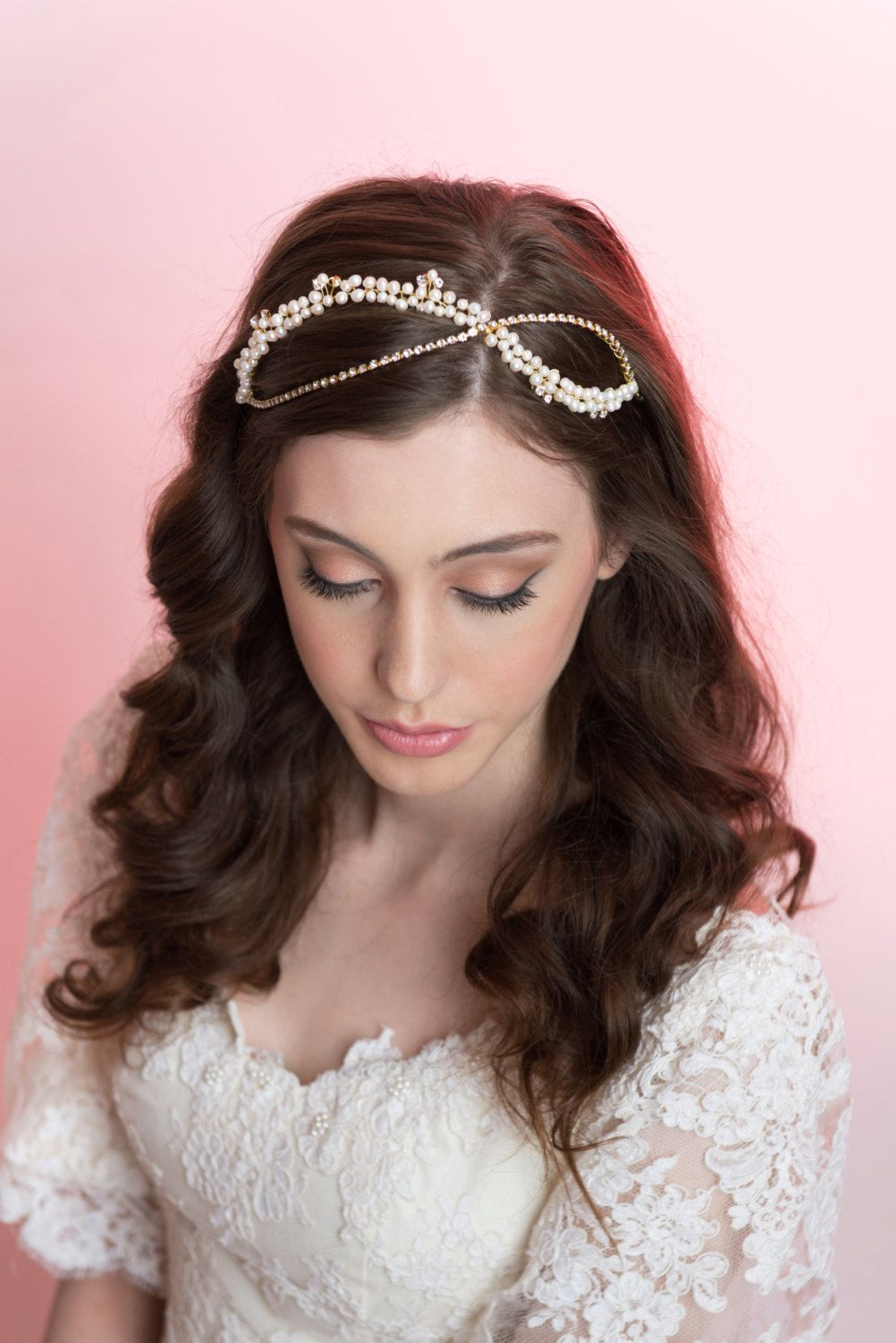 Bridal Halo Wedding Hair Pearls and Swarovski Crystals Halo by MilaKolitsova on Etsy