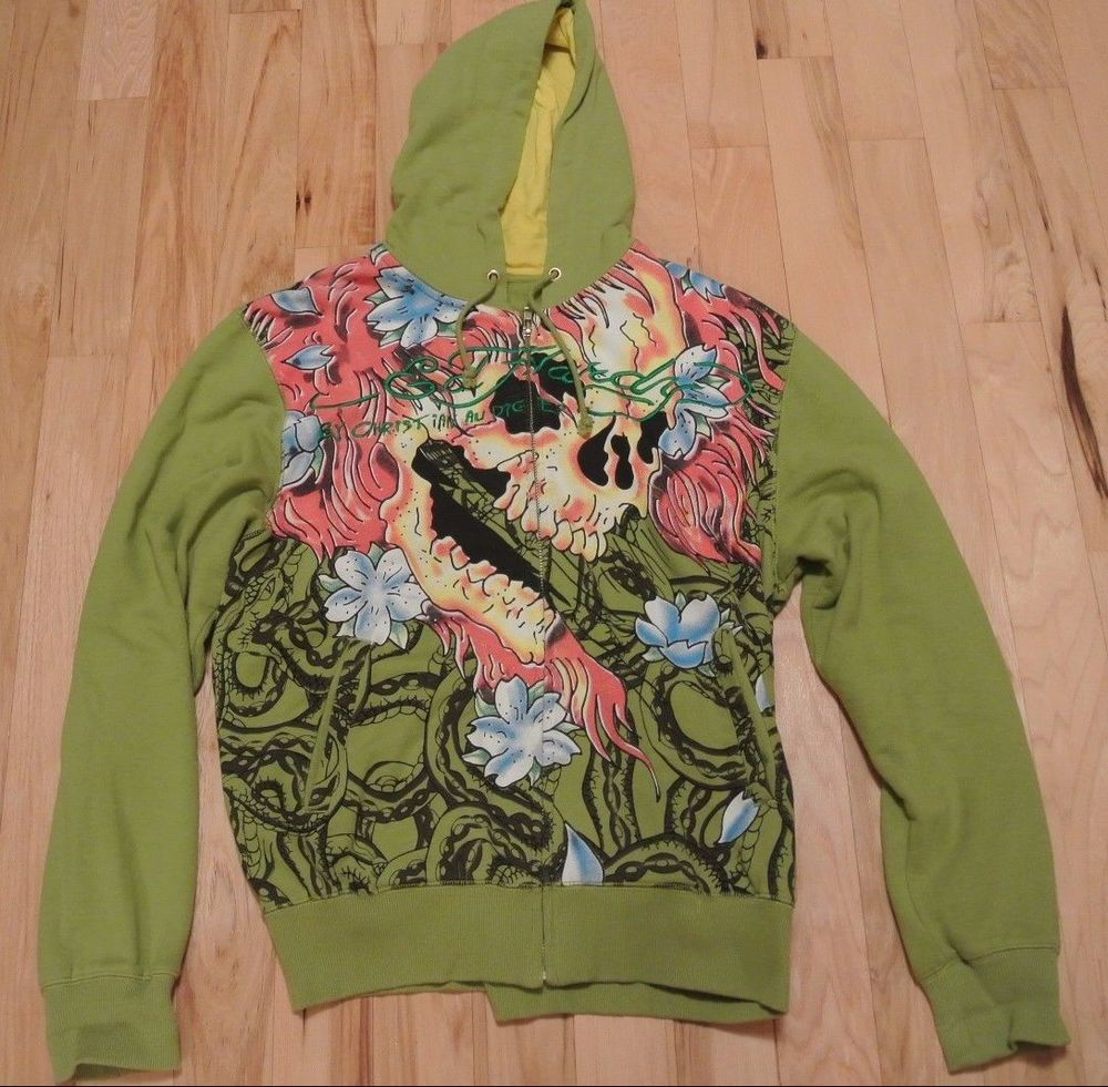 Men s Ed Hardy Hoodie Size XXL 2X Green Yellow Large Flaming Skulls  EdHardy   Hoodie 223b6d50739e
