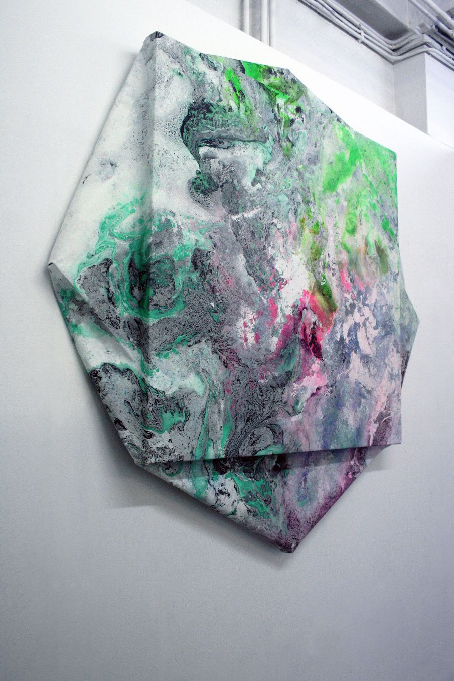 Valentin Dommanget DIGITAL STRETCHER STUDIES II acrylic spray pigments, chemical solutions on canvas 2014  http://vdommanget.com