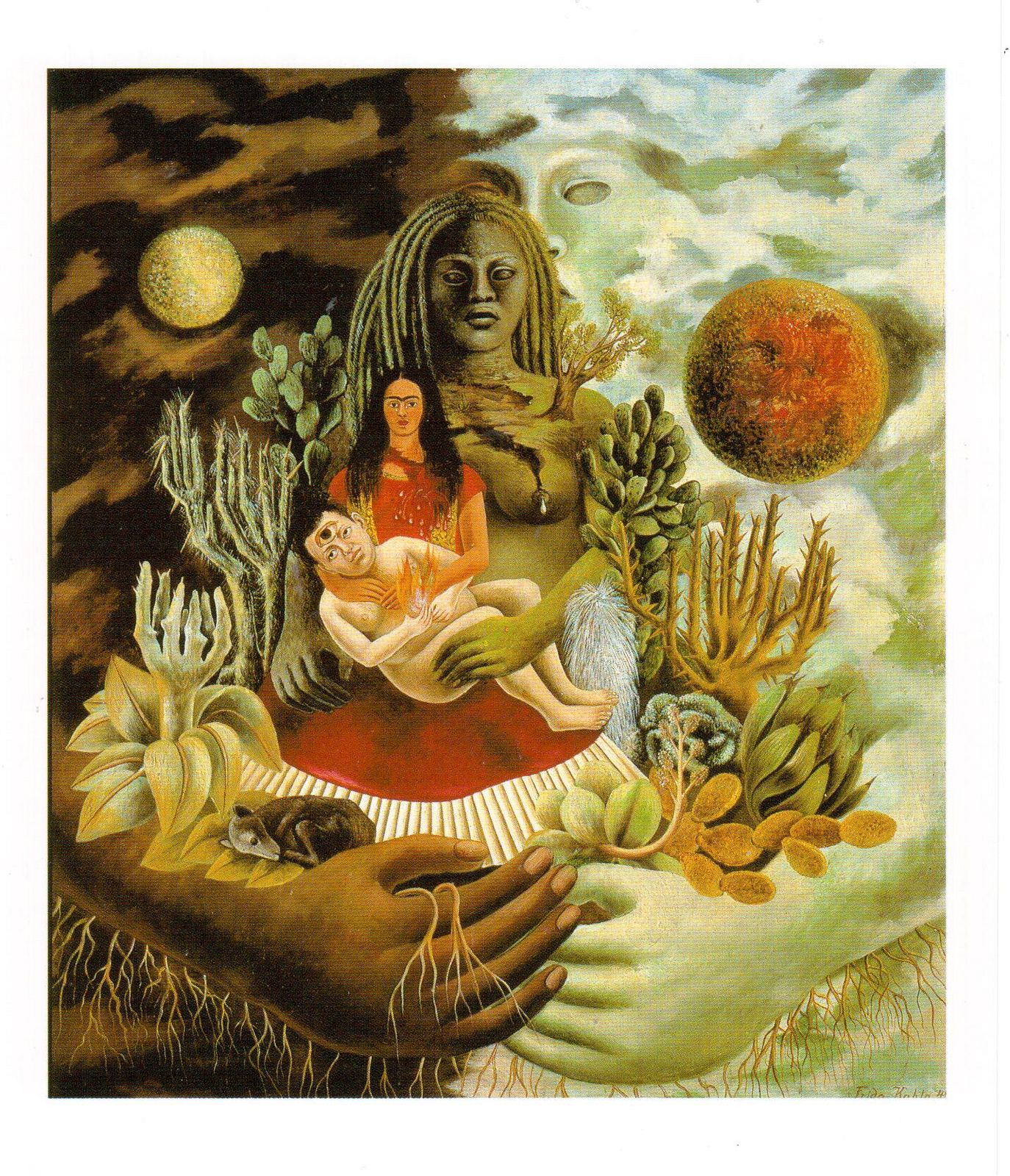 Postcard Of The Painting Love Embrace Universe Earth Mexico Me Diego And Mr Xolotl By Mexican Artist Frida Kahlo