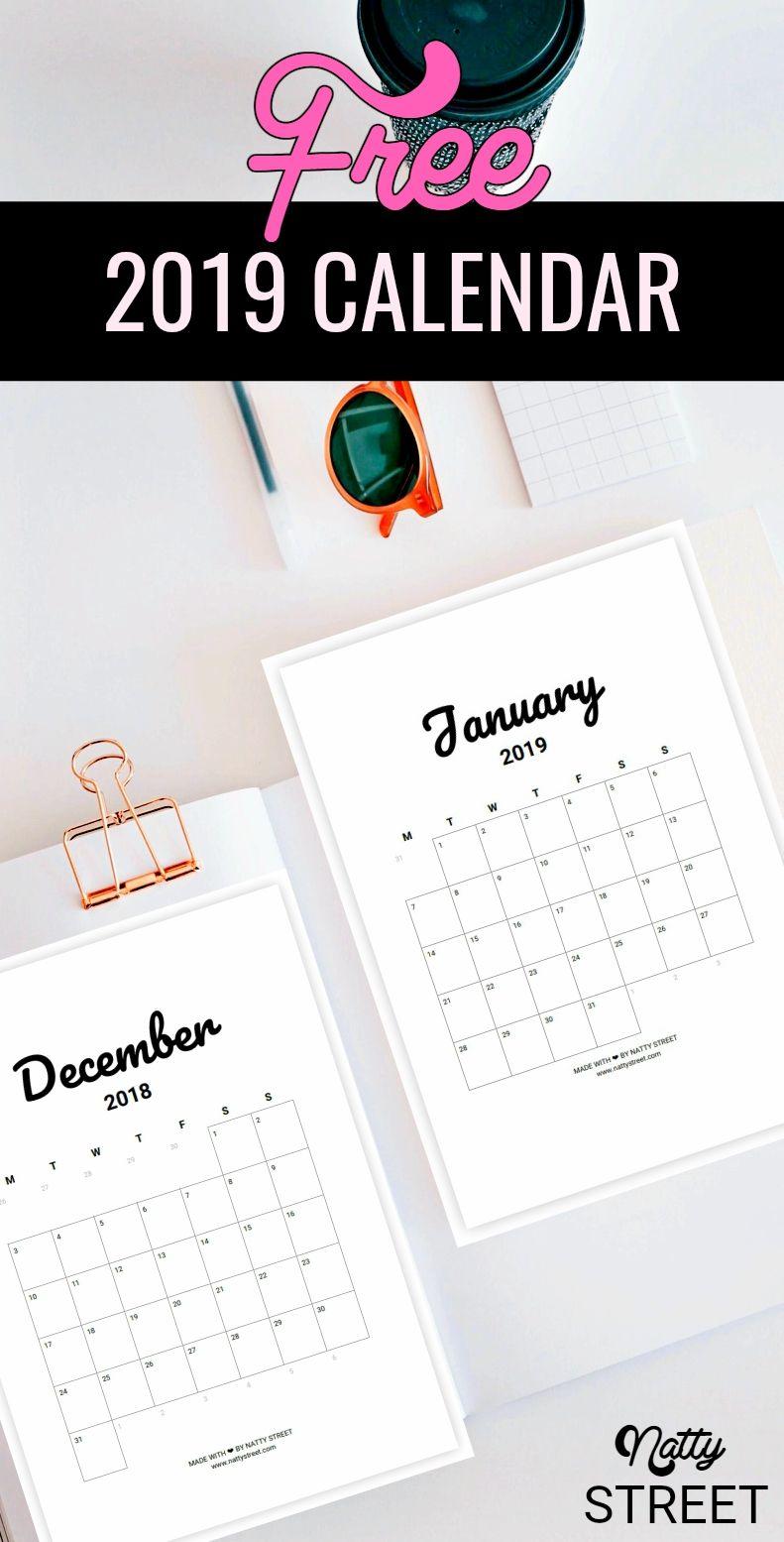 Free 2019 Minimalist Calendar Printables Desk Calendar Free