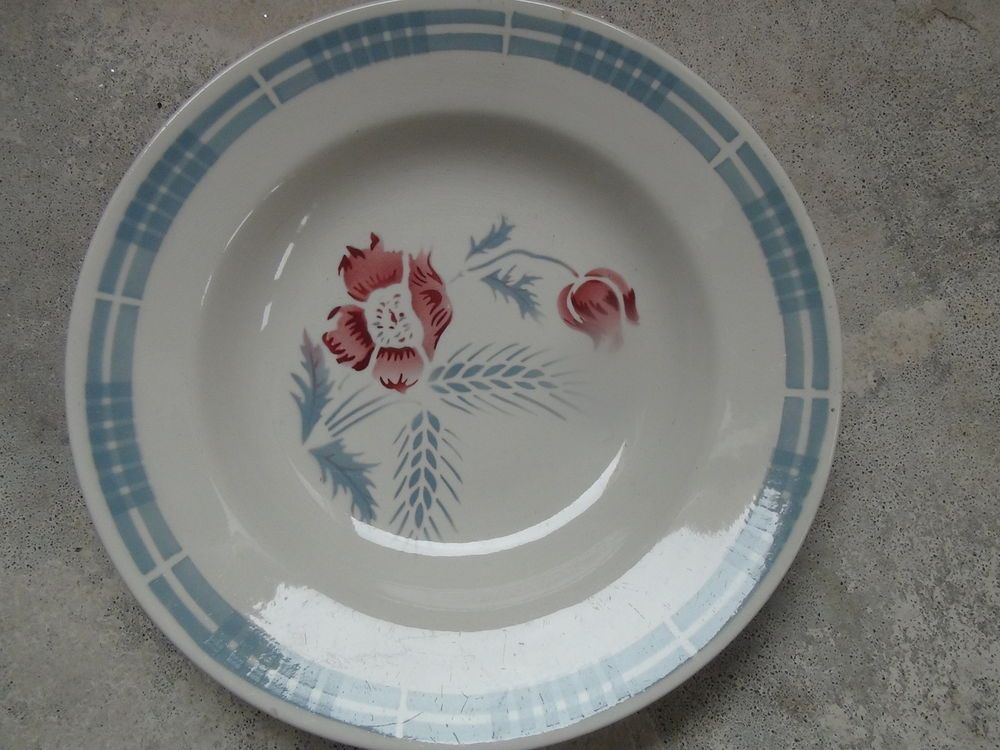 assiette ancienne sarreguemines digoin france carole bleu ciel et rose vintage vaisselle. Black Bedroom Furniture Sets. Home Design Ideas
