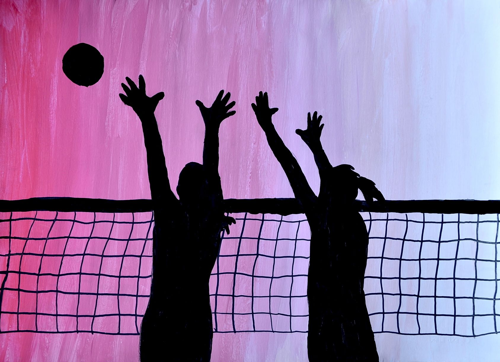 Silhouette On Tonal Gradations Volleyball Wallpaper High School Art Projects Volleyball Silhouette