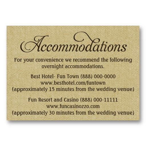 Burlap Wedding Accommodation Reception Cards Zazzle Com Reception Card Wedding Accommodations Burlap Wedding