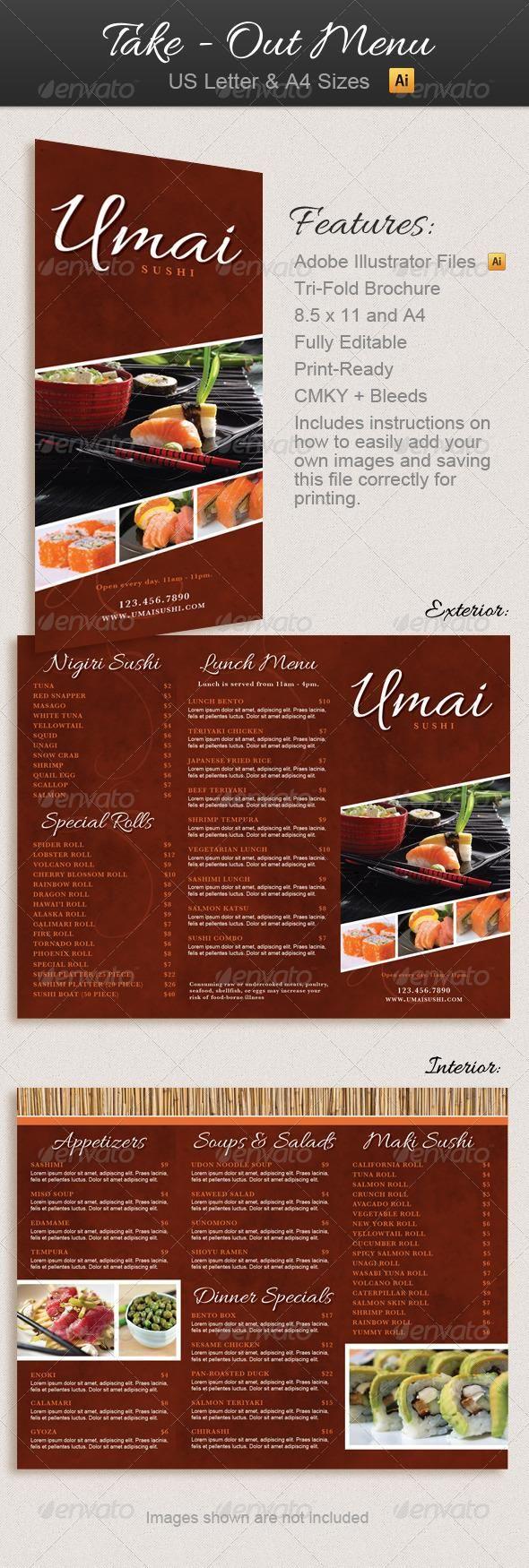 restaurant take out menu trifold brochure ads pinterest menu