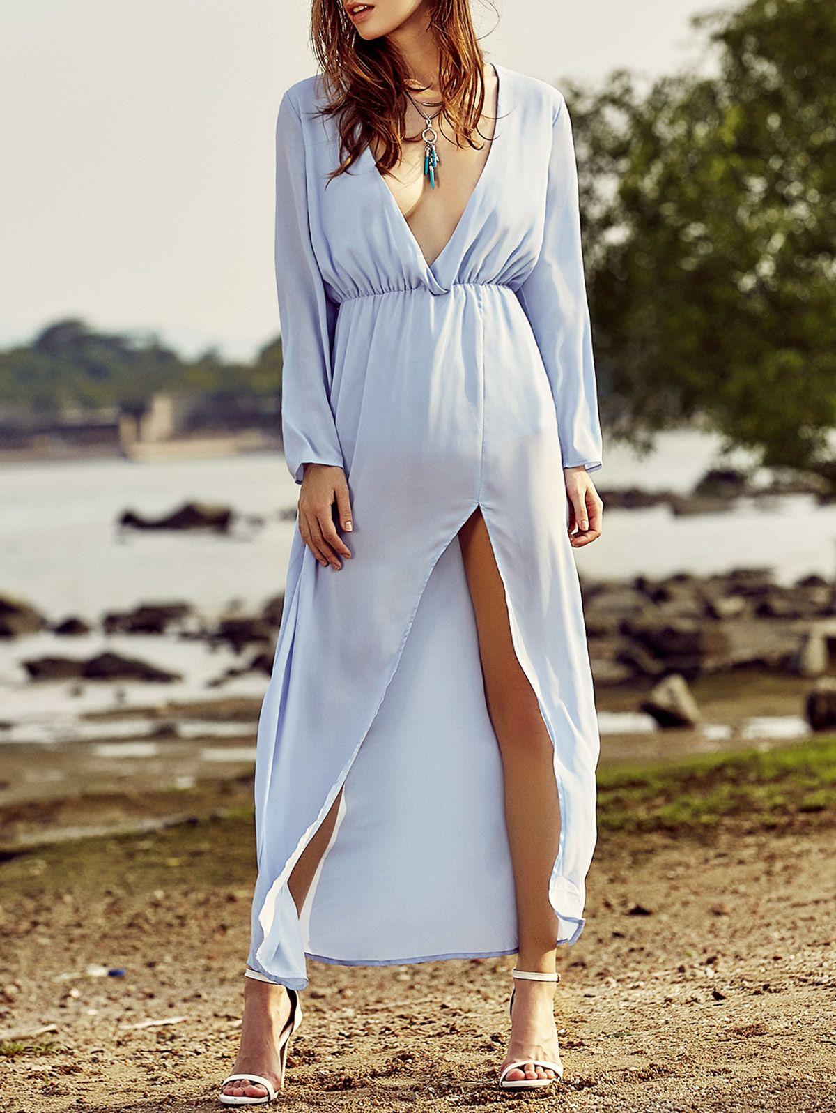 Long sleeve high slit back cut out maxi dress blue maxi maxi