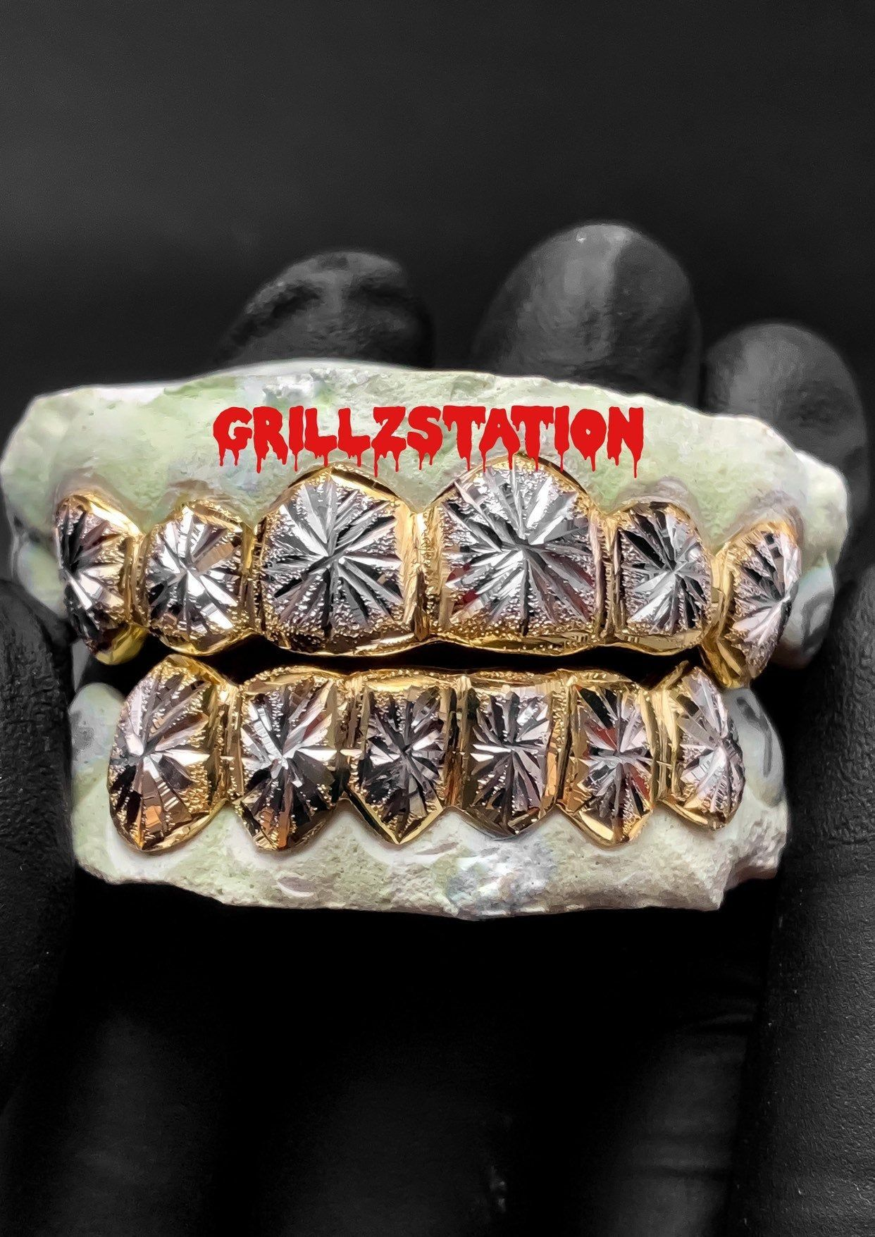 Diamond Dust Grillz Starburst Design Silver 10k 14k Gold