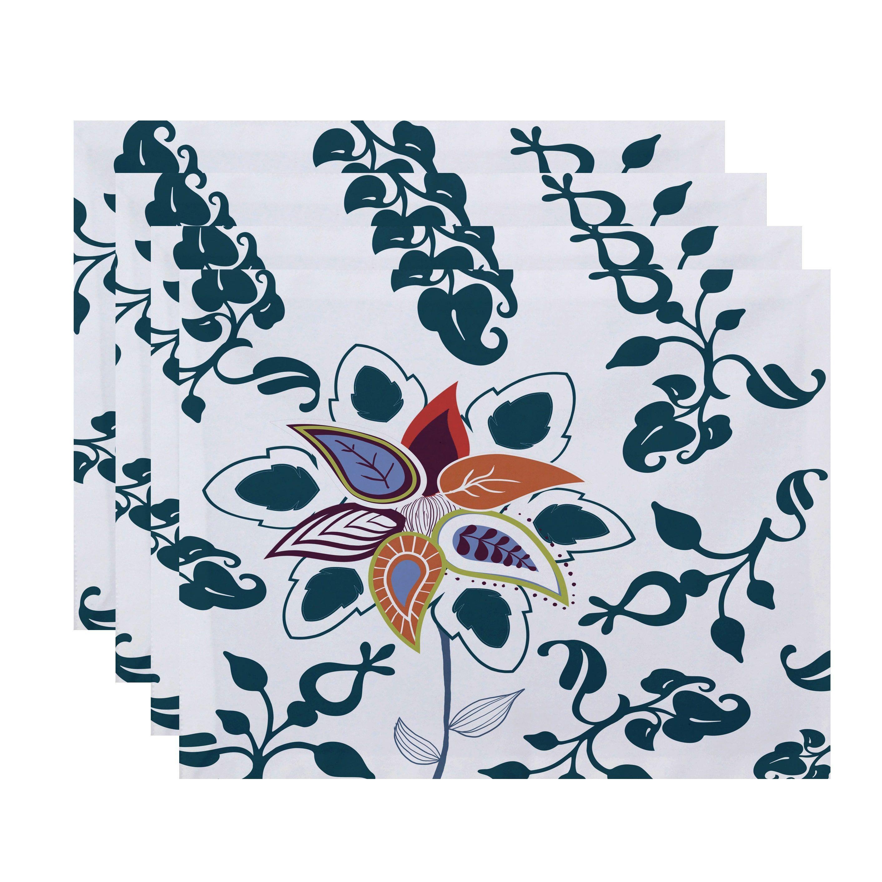 E by Design Paisley Pop Floral Print 18x14-inch Placemat (Blue ...