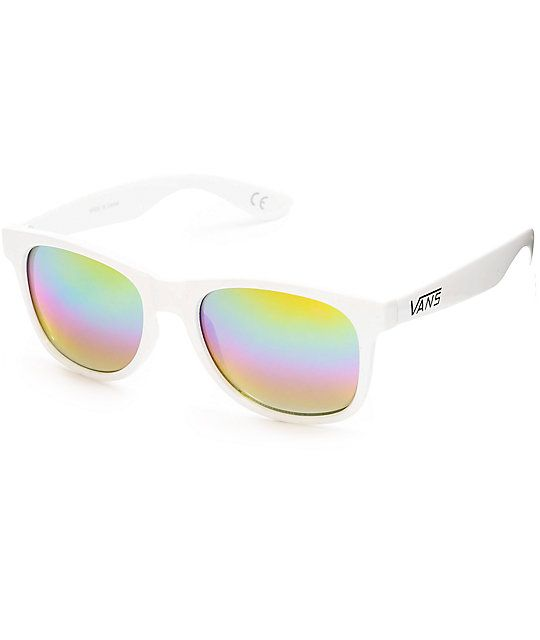 fc181bd972 Get ready for some sweet summer rays with the Spicoli sunglasses from Vans  that have a white plastic frame and rainbow mirror lenses for fresh styling.