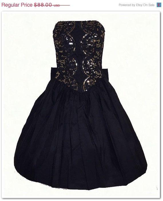 3d066d3748d Vintage 80s Gunne Sax Black Sequin Strapless Party Prom Dress M ...