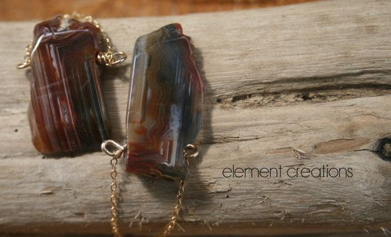 Agate and Gold Chain Earrings with Faceted by ElementCreations, $45.00
