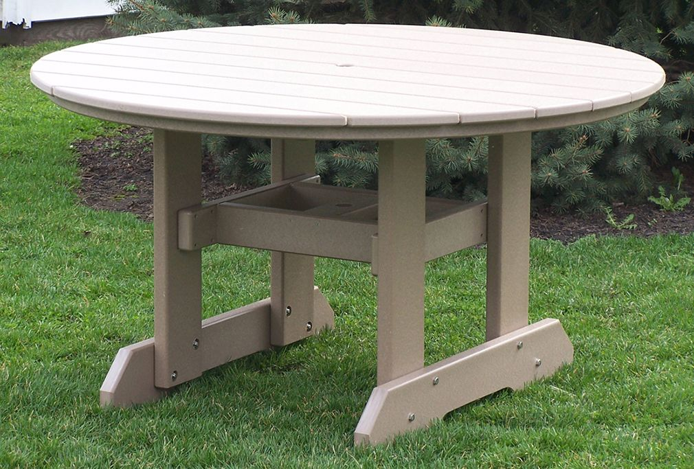 54 Round Dining Table Pictured In Weatherwood Polytuf Lumber