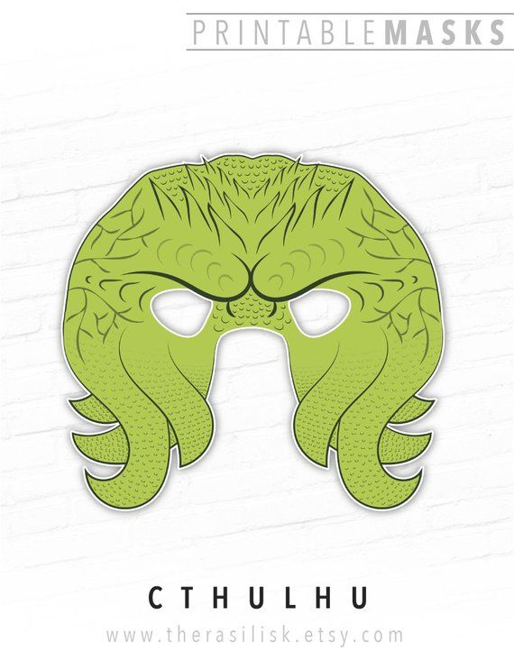 Halloween Mask Printable Mask Cthulhu Mask Cthulu Tentacle